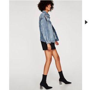 Zara Black Stretch Booties with Silver Heel ✨New✨